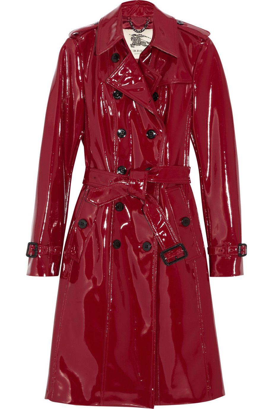 8429606768efaa Burberry Glossed-vinyl Trench Coat in Red | Plastic Vinyl Latex ...