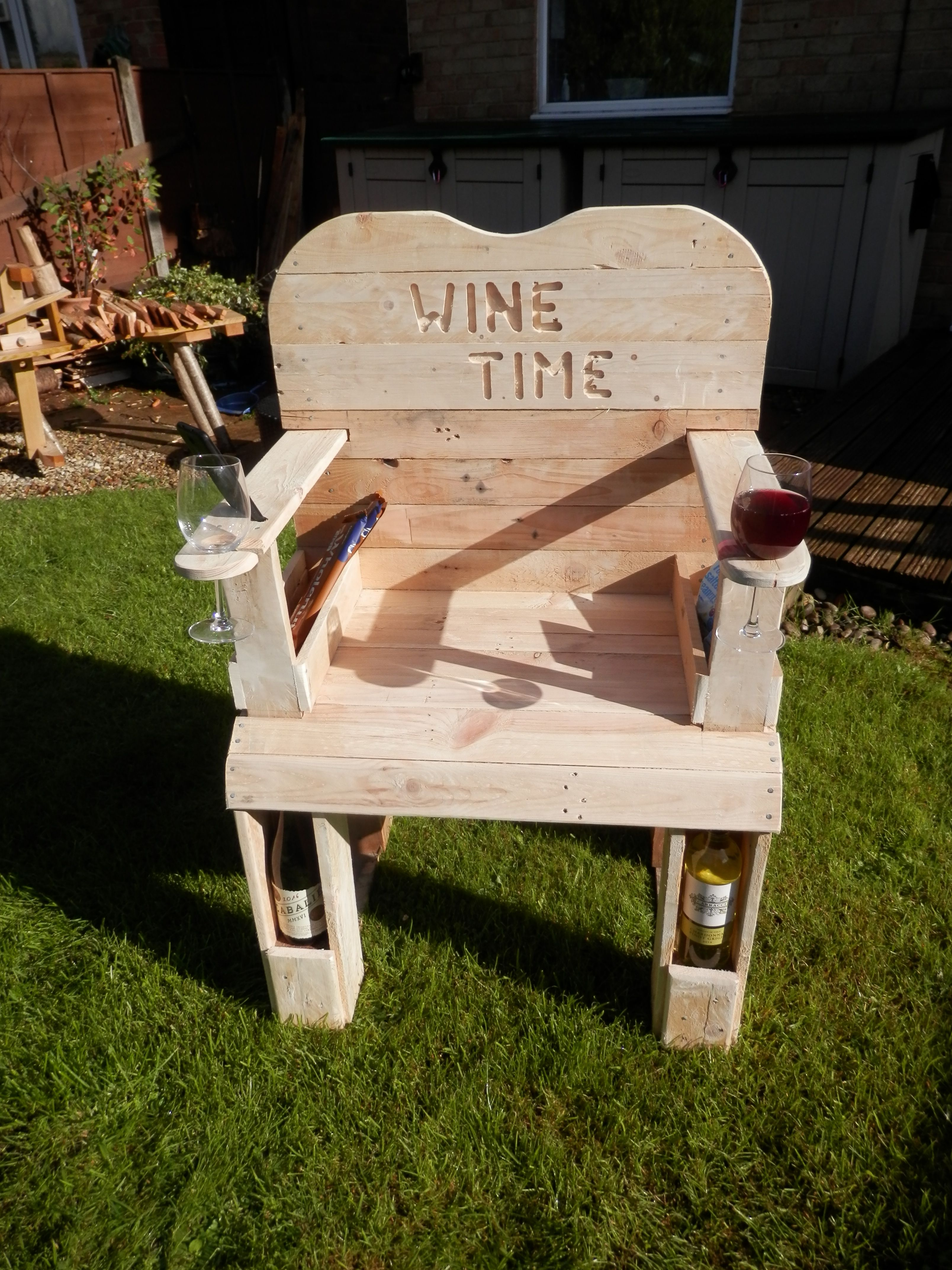 Wine Chair Made From Pallet Wood Featuring Two Glass