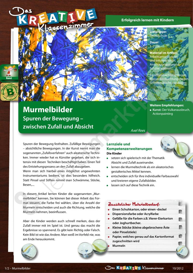 Murmelbilder - Spuren der Bewegung zwischen Zufall und Absicht ...