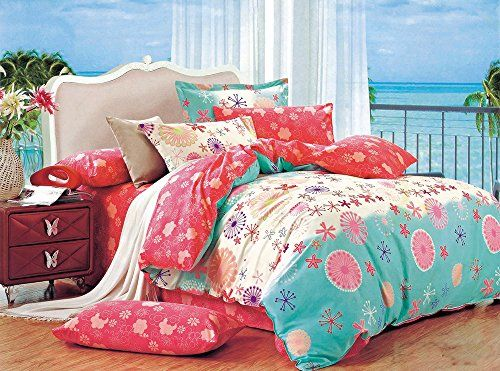 Cliab Coral Pink Green Bedding For Teen Girls Flower Twin Duvet Cover Set 100% Cotton 5 Pieces Cliab http://www.amazon.com/dp/B015O48CGK/ref=cm_sw_r_pi_dp_N3dmwb1YJDNYS