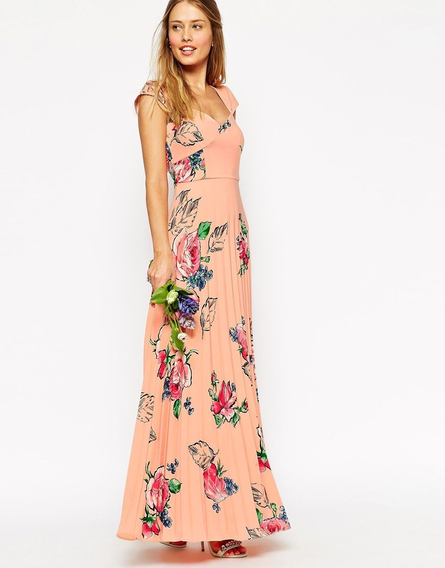 Image 3 of ASOS WEDDING Maxi Tea Dress With Pleated Skirt In Rose ...