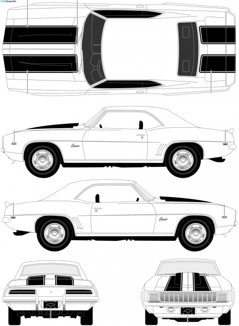 1969 Chevrolet Camaro Z-28 SS Coupe blueprint | My newscasts ...
