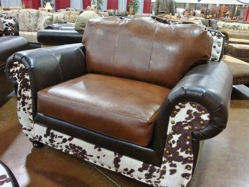 Western Faux Cowhide Leather Chair 1/2 Ooohhhh I Must Have 2 Of These!