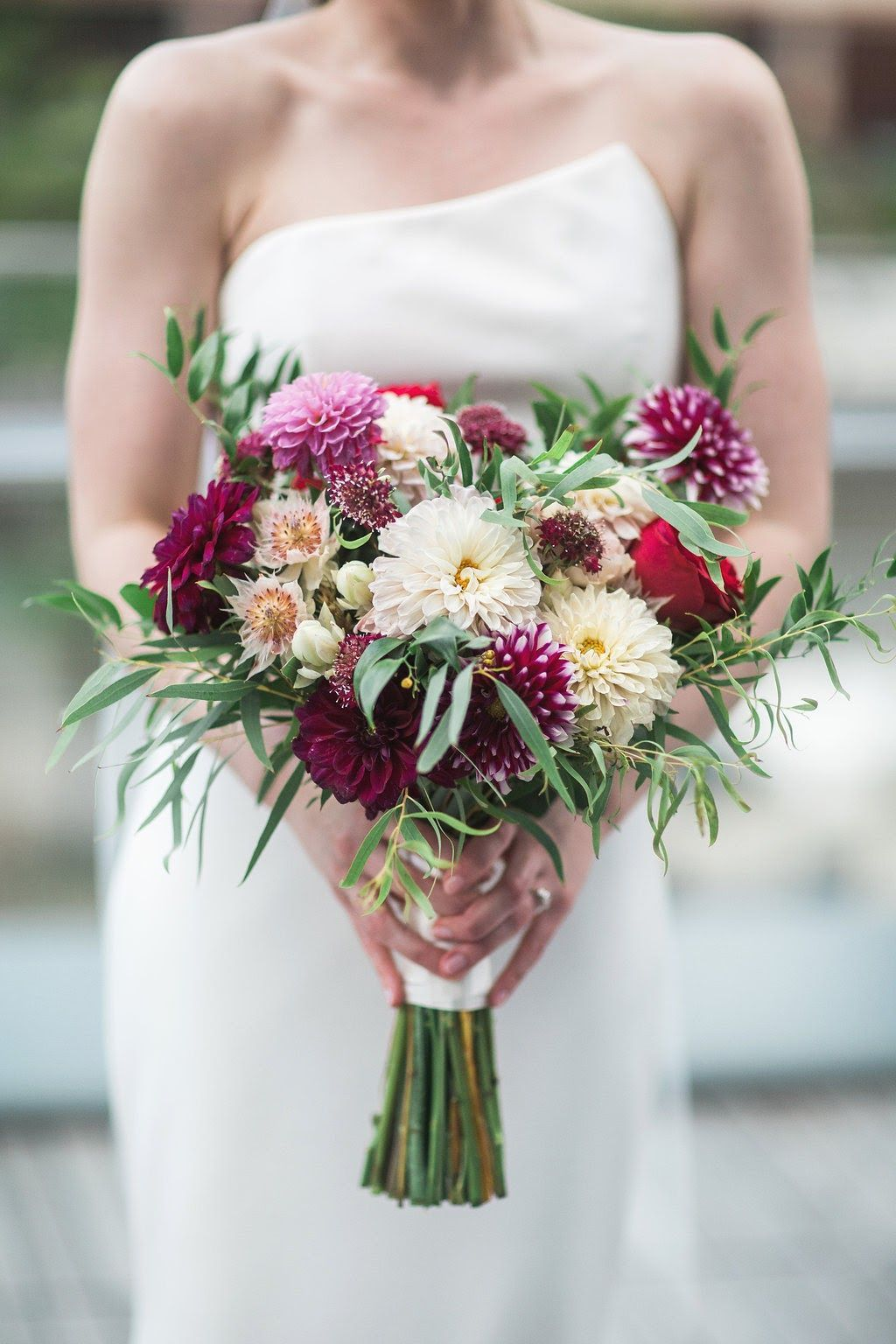 Wedding bouquets red and white roses  Garden Roses Wedding Flowers Wedding Floral Eucalyptus Greenery