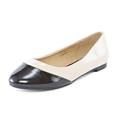 Shiny Contrast Toe Flat ShoesFree Shipping at VANCL