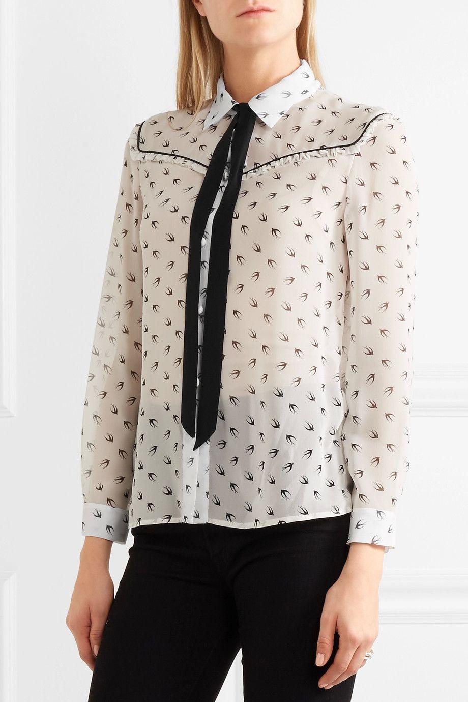 Miu Miu - Ruffled printed silk-chiffon blouse