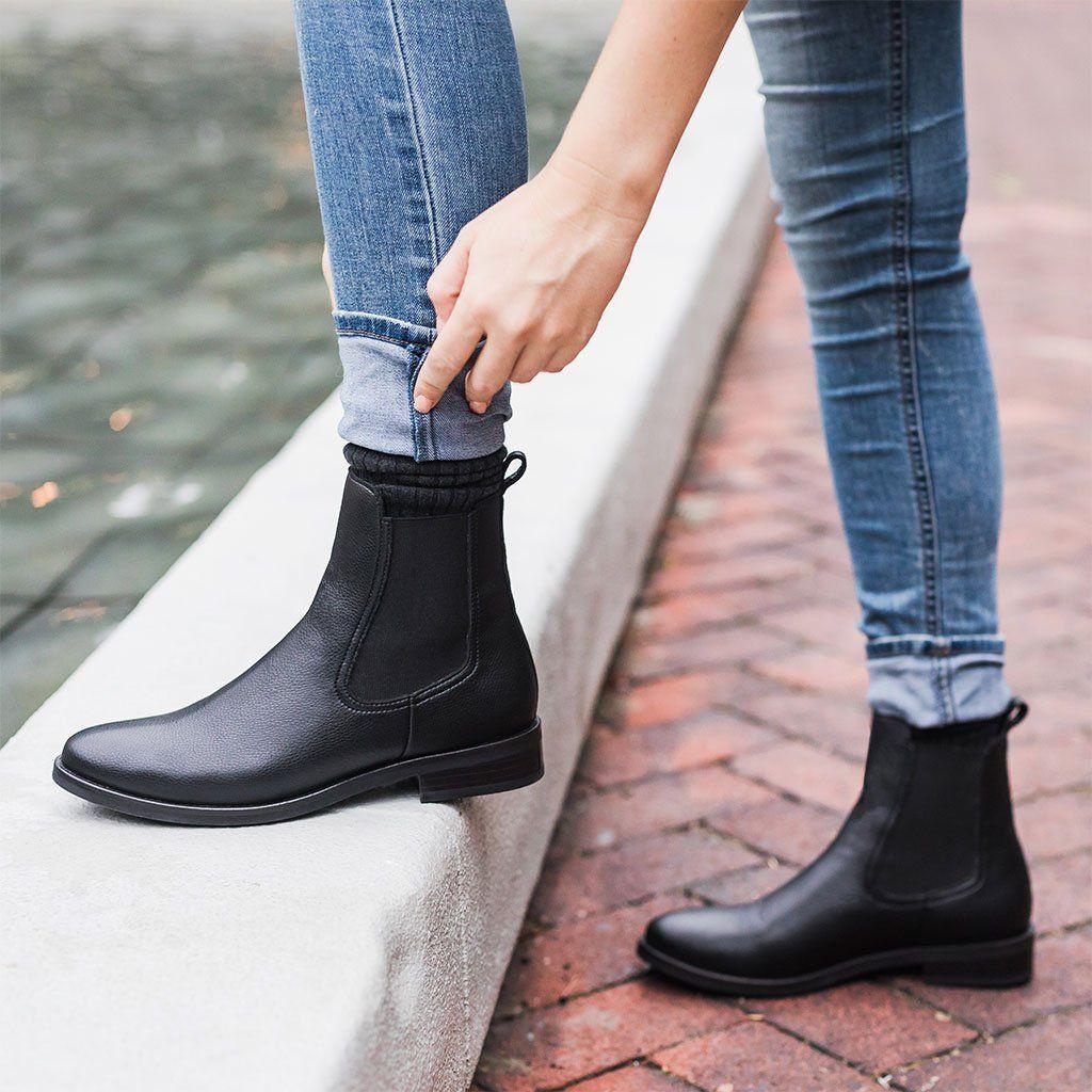 black vegan chelsea boots