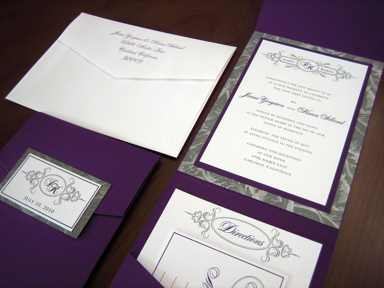 black white silver purple weddings purple and silver With white and silver wedding invitations pinterest