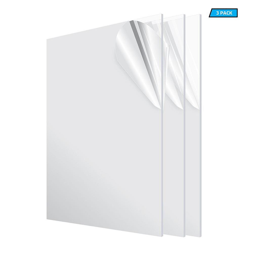 Adiroffice 24 In X 48 In X 1 8 In Clear Plexiglass Acrylic Sheet 3 Pack 2448 3 C Acrylic Sheets Clear Acrylic Home Depot