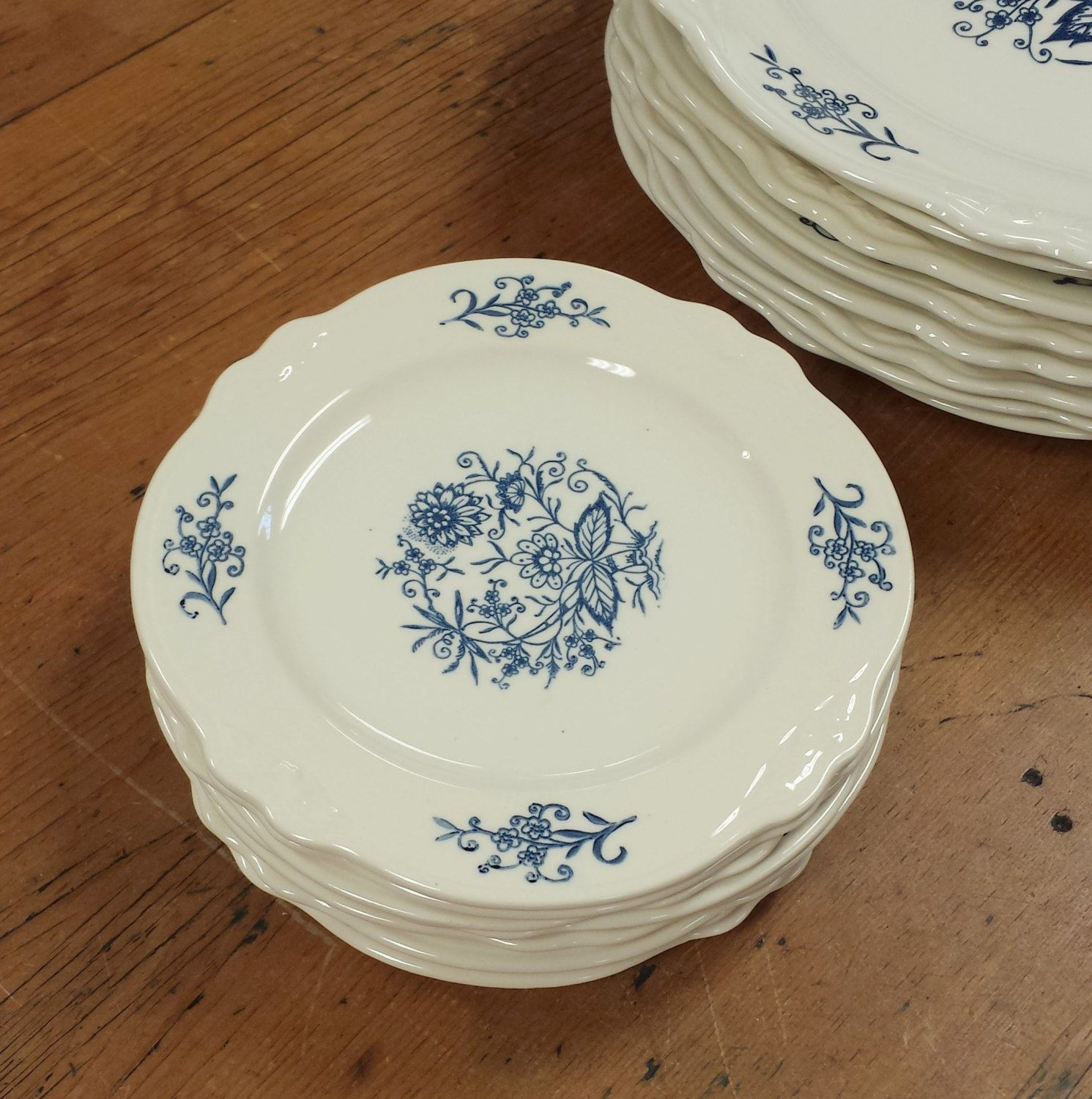 4 Bread/Side Plates ~ Dresden Imperial Blue Dishes ~ Heritage Quality Dinnerware by FeeneyFinds & 8 Bread/Side Plates ~ Dresden Imperial Blue Dishes ~ Heritage ...
