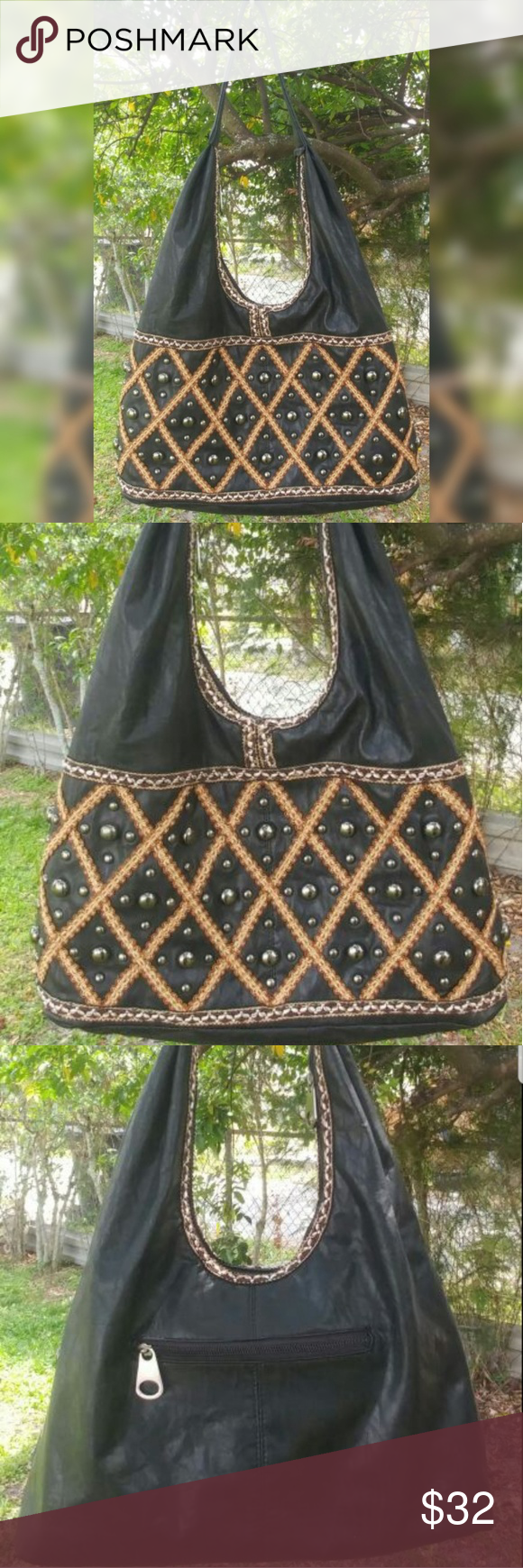 Mms Design Studio Purse Satchel Hobo Bag Black With Brown Beige Trim Pictures Show Front And Back