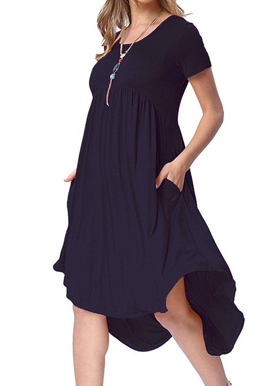 Womens High Low Pleated Swing Hem High Waist A Line T Shirt Dress With Pockets Navy Blue C81889xemkx Midi Dress Casual Shift Dress Casual Casual Dresses [ 1500 x 1063 Pixel ]