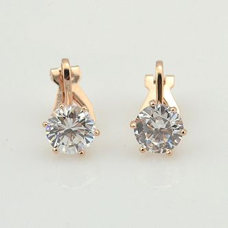 Zirconia Crystal Clip Earrings For Women Rose Gold Plated Fashion Jewelry Female Wedding Party Gift