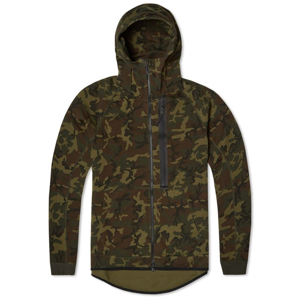 24f299d255806 Nike Tech Fleece Camo AW77 Hoody (Sequoia & Black) | Camouflage ...