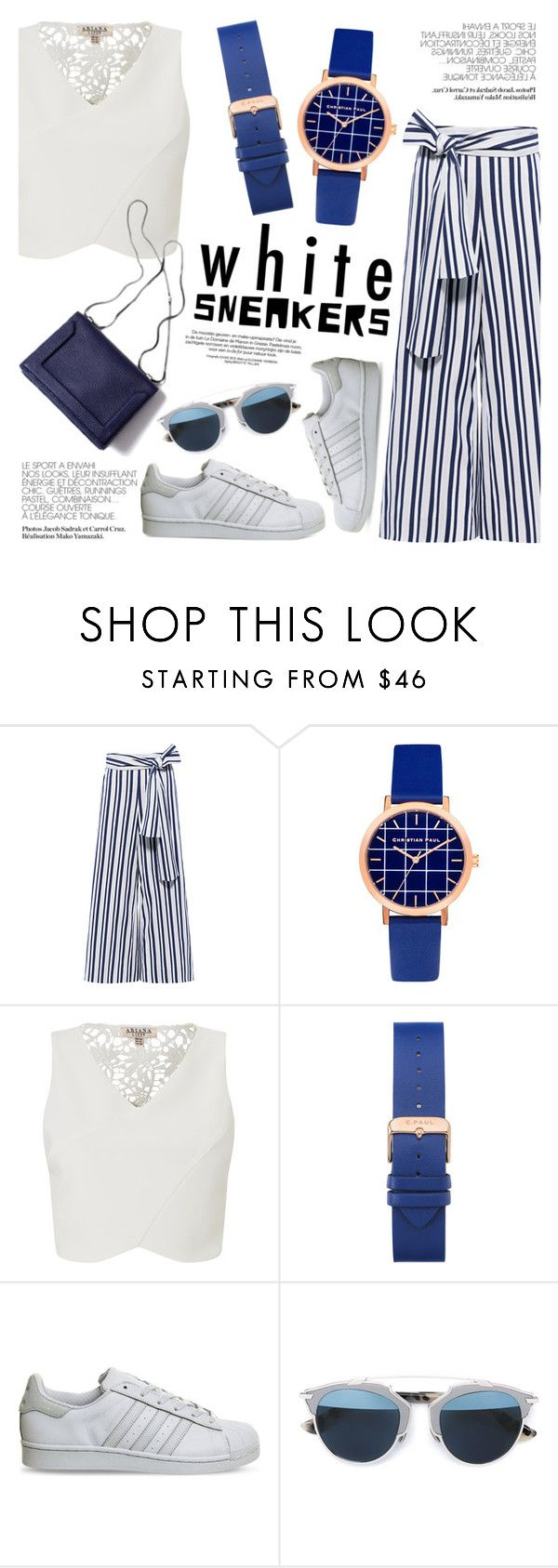 """""""Bright White Sneakers"""" by christianpaul ❤ liked on Polyvore featuring Tanya Taylor, Lipsy, adidas, Christian Dior, contestentry, whitesneakers and christianpaul"""