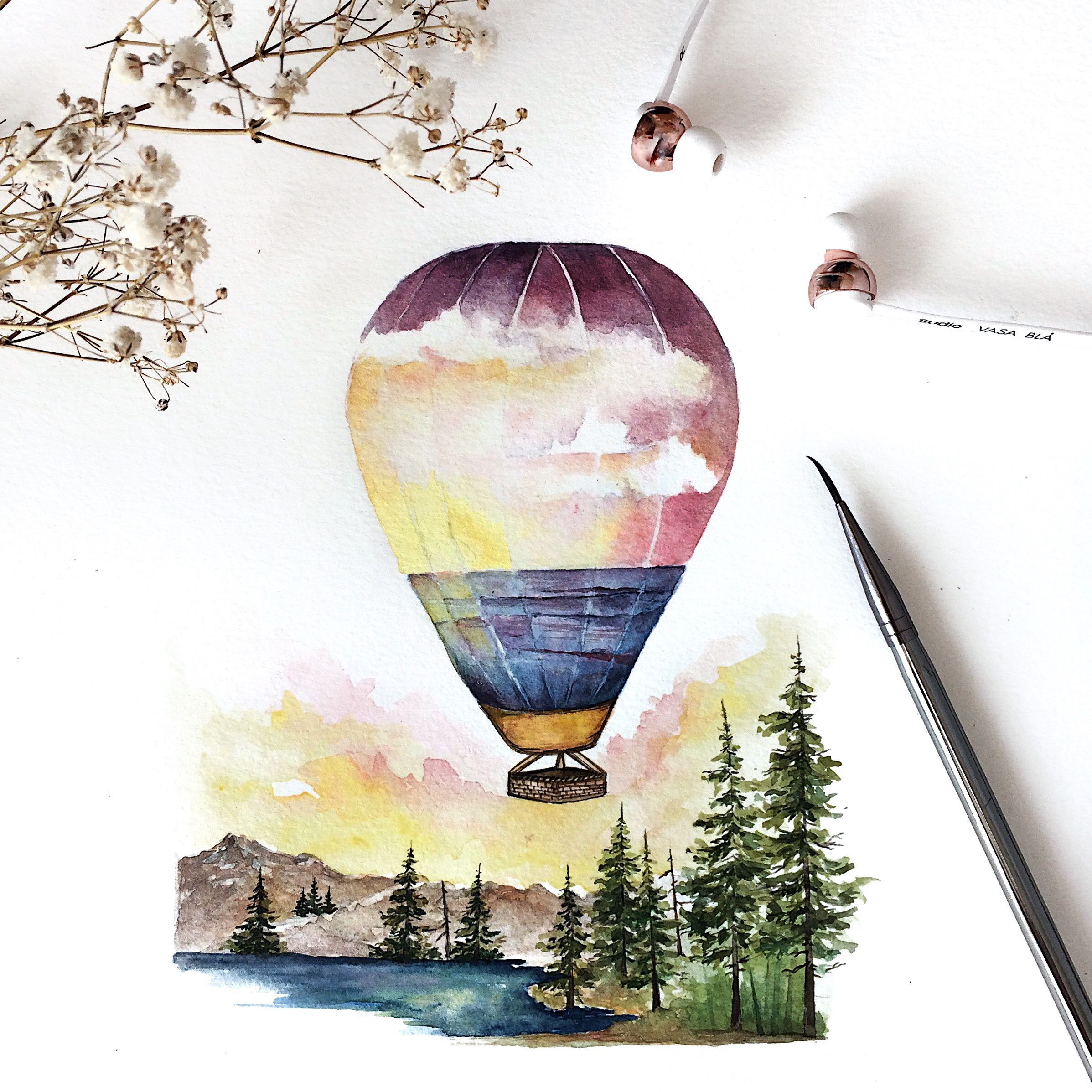 Watercolor Sunset Landscape Painting With The Focus On The Hot Air