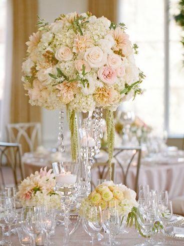 Peach romantic crystal or pearl reception wedding flowers - Mesa tower crystal ...