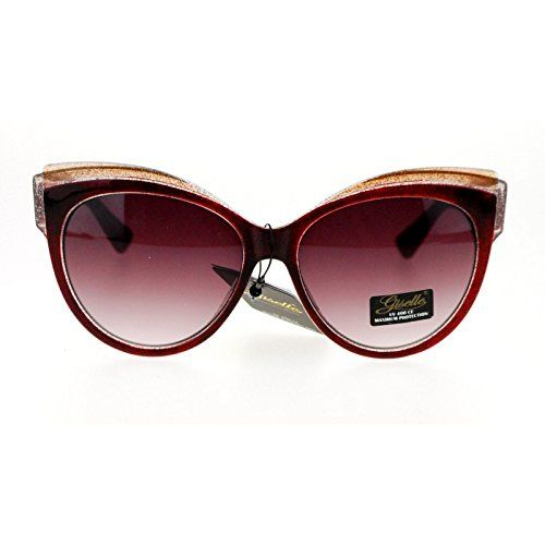 2cc75079db Giselle Womens Oversize Cat Eye Gel Glitter Fashion Sunglasses Burgundy      Want to know more