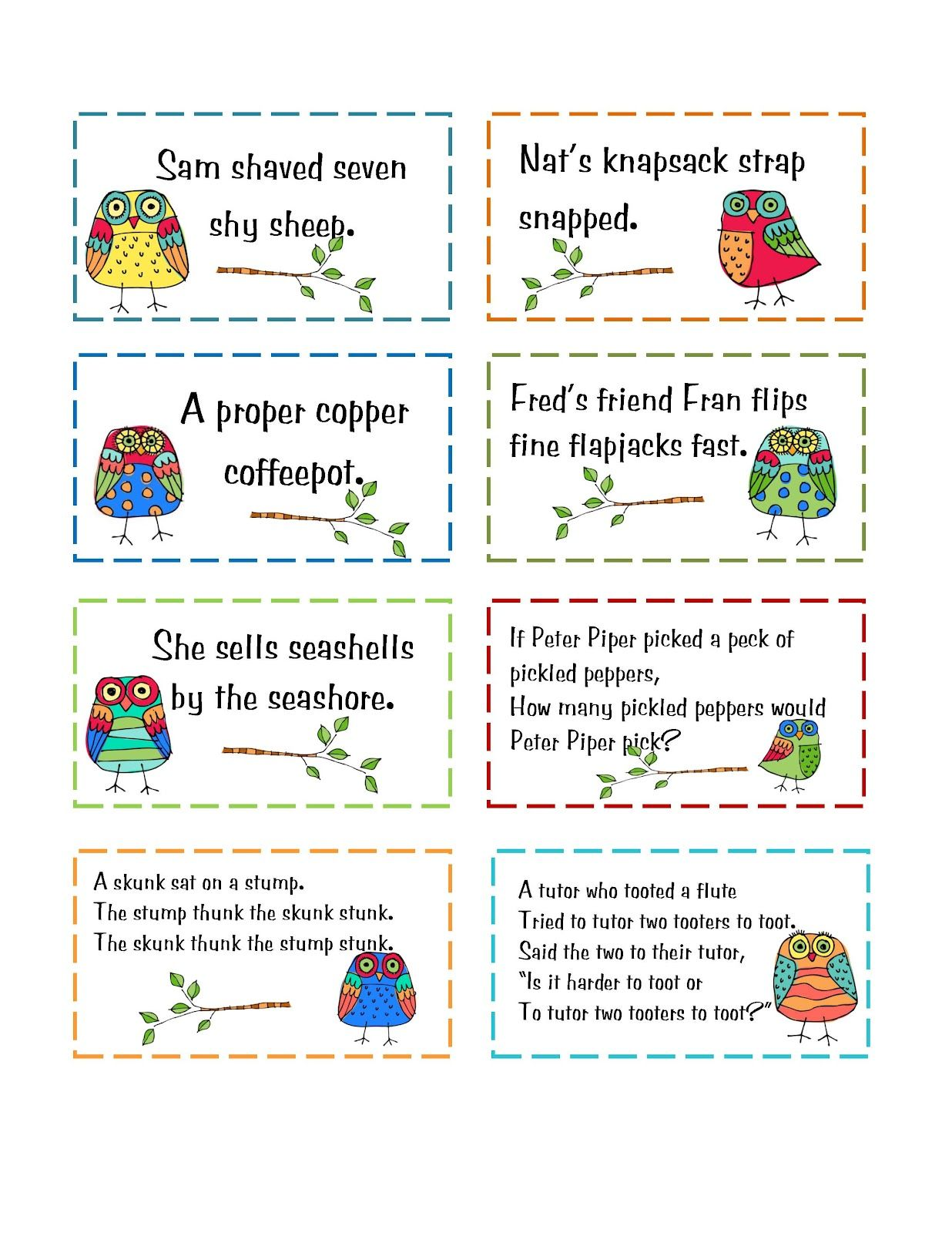 Free Tongue Twister Cards With Images