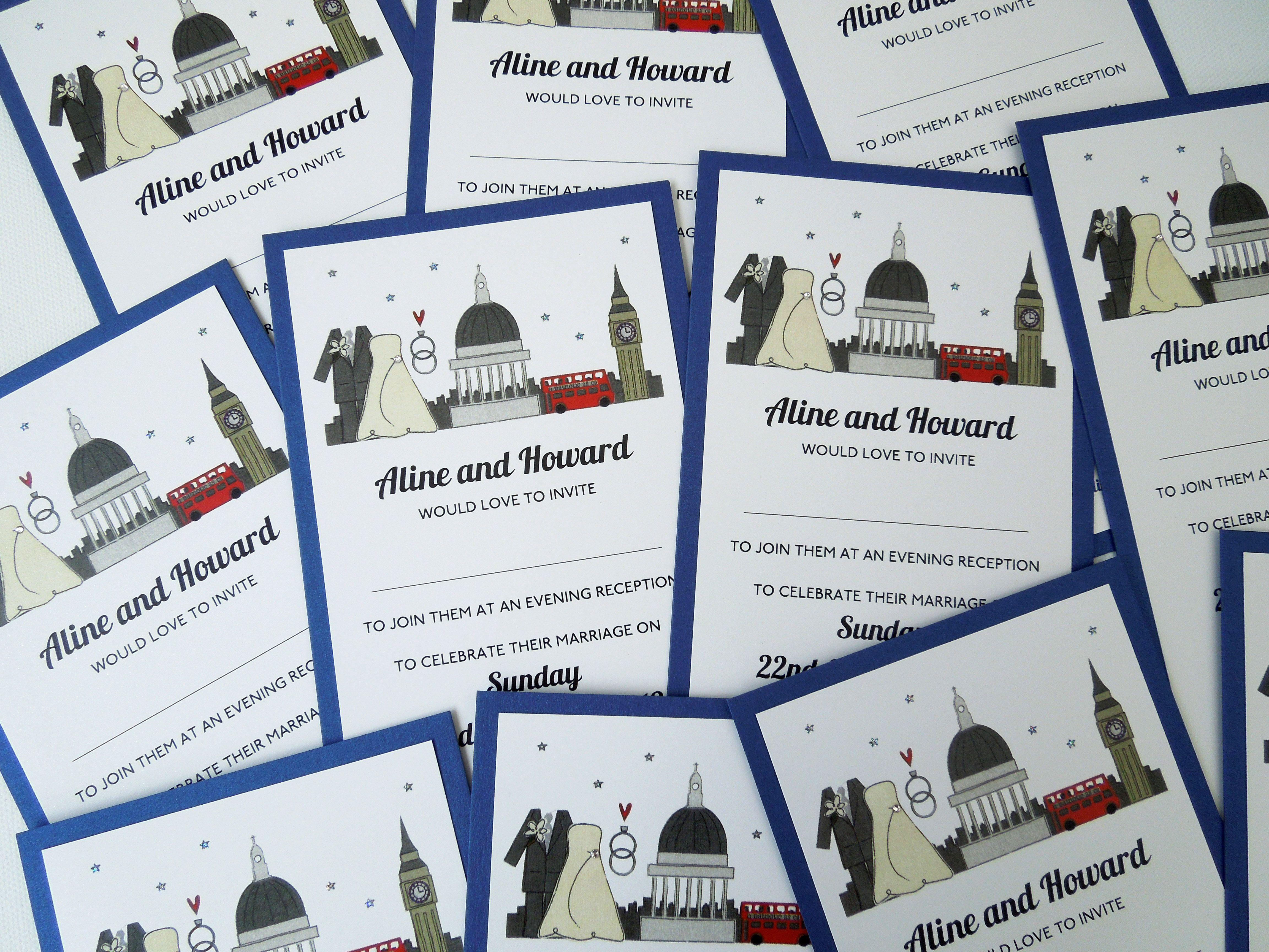 I LOVE London - The Flat one - London themed wedding invitation ...