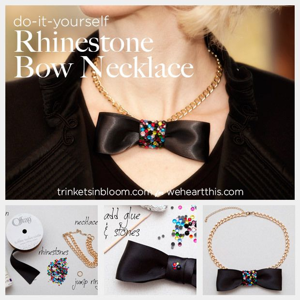 Diy jewelry project rhinestone bow necklace make the night a diy jewelry project rhinestone bow necklace make the night a black tie affair solutioingenieria Images