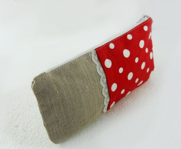two-fabric pouch with lace or piping or trim