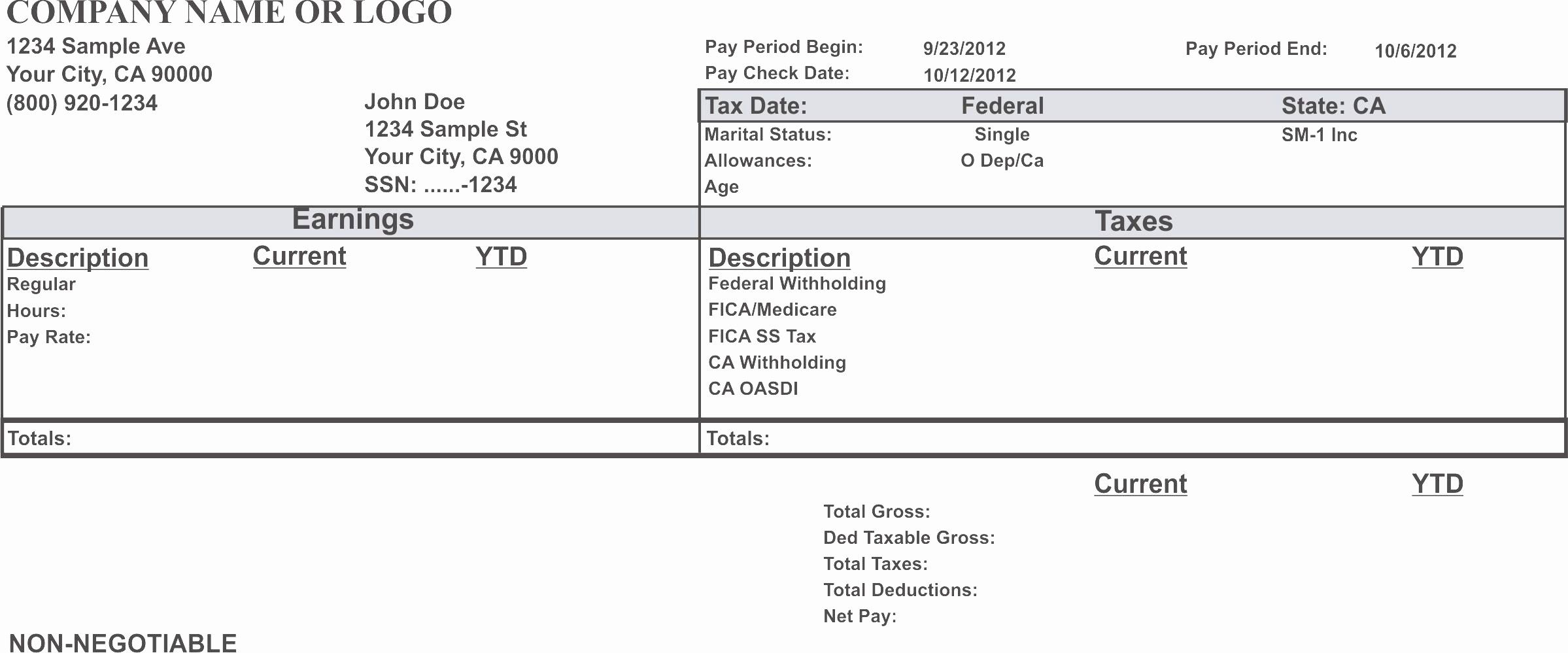 50 awesome free employee earnings statement template in