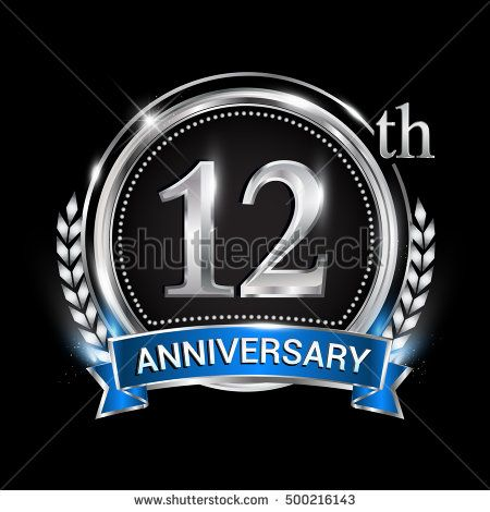 12th Anniversary Logo With Silver Ring Combination Blue Ribbon And Laurel Wreath Birthday Logo For Celebration Anniversary Logo Birthday Logo 17th Anniversary