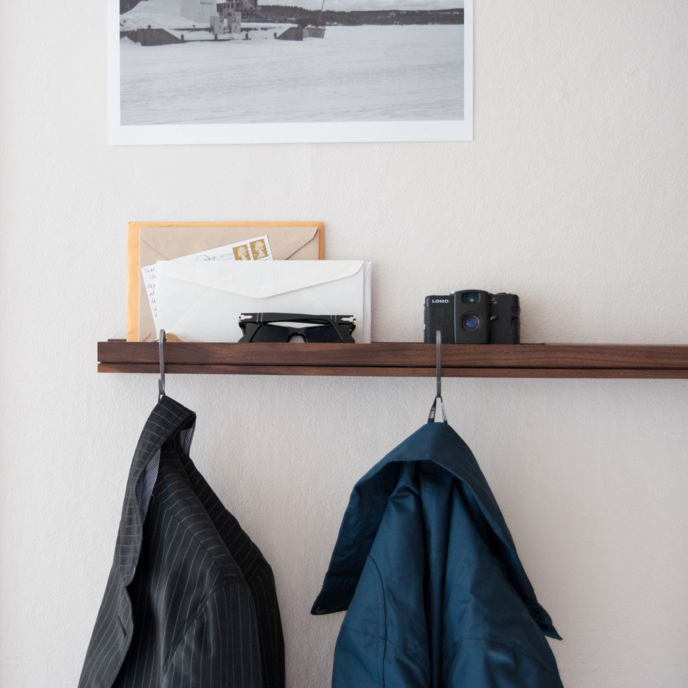 Space saving hallway furniture  Cool shelf like the way you can hang coats from it  StorageDIY