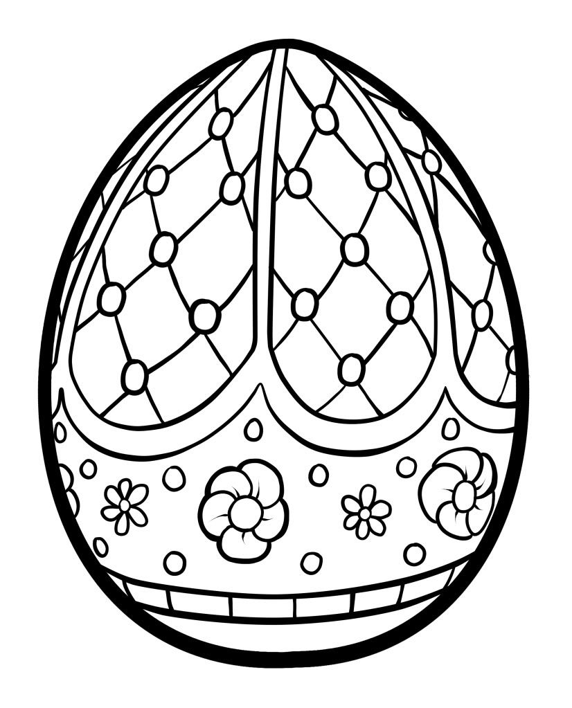 free easter printables faberge egg inspired design with small flower details adult coloring pagescolouring - Coloring Pages Of Easter Eggs