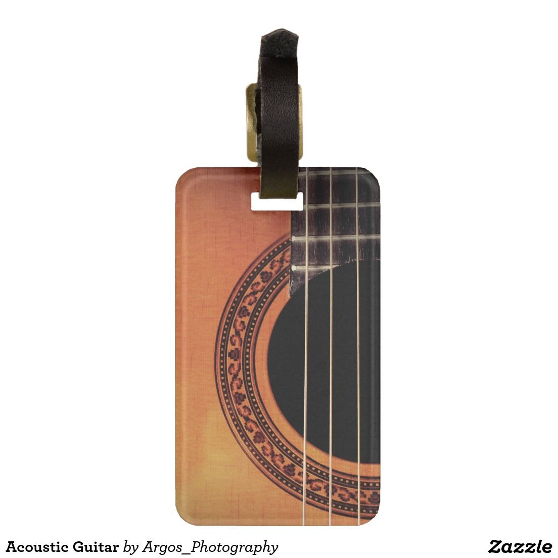 Acoustic Guitar Luggage Tag Zazzle Com Custom Luggage Tags Luggage Tags Personalized Luggage Tags