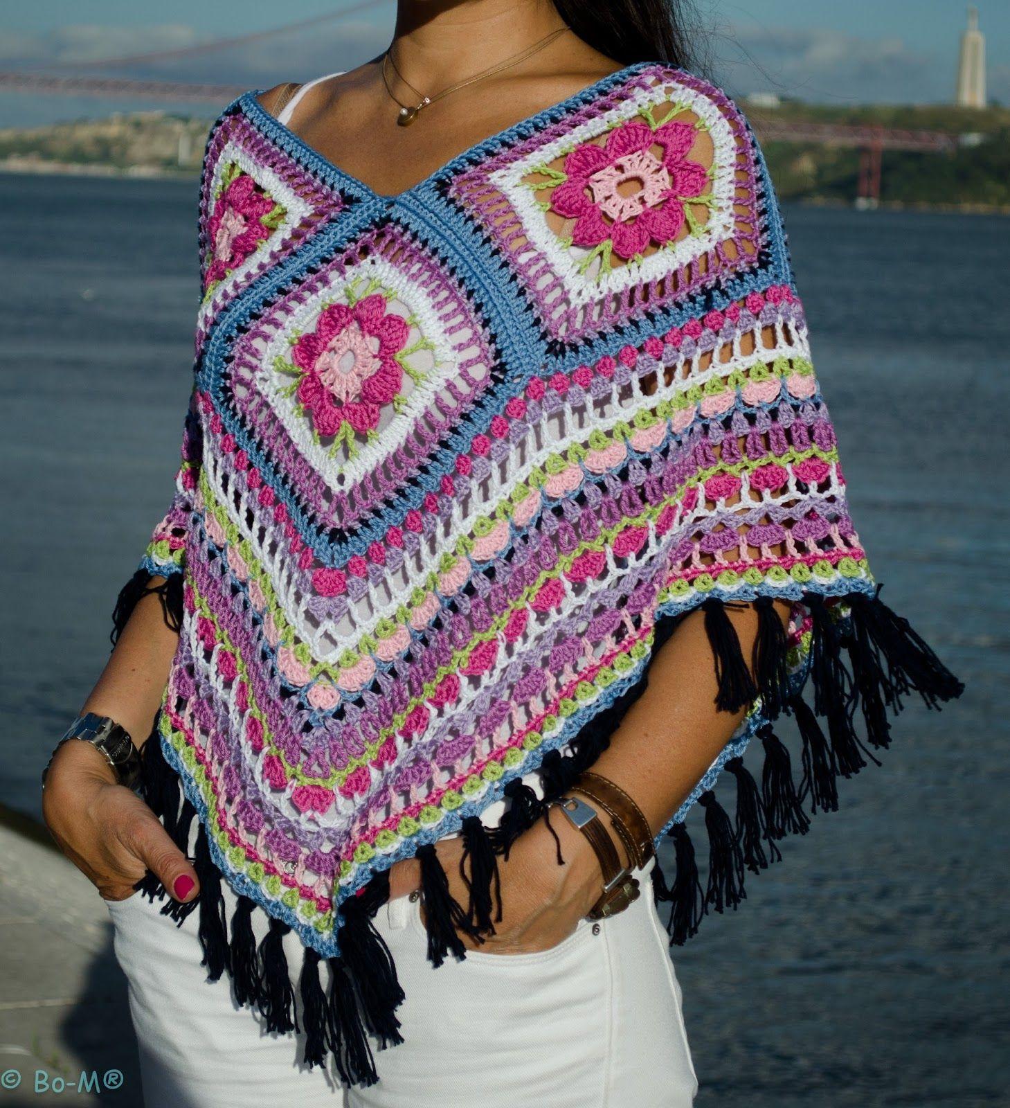 Poncho feito à mão em crochet € 48,50 | blusas e vestidos ...