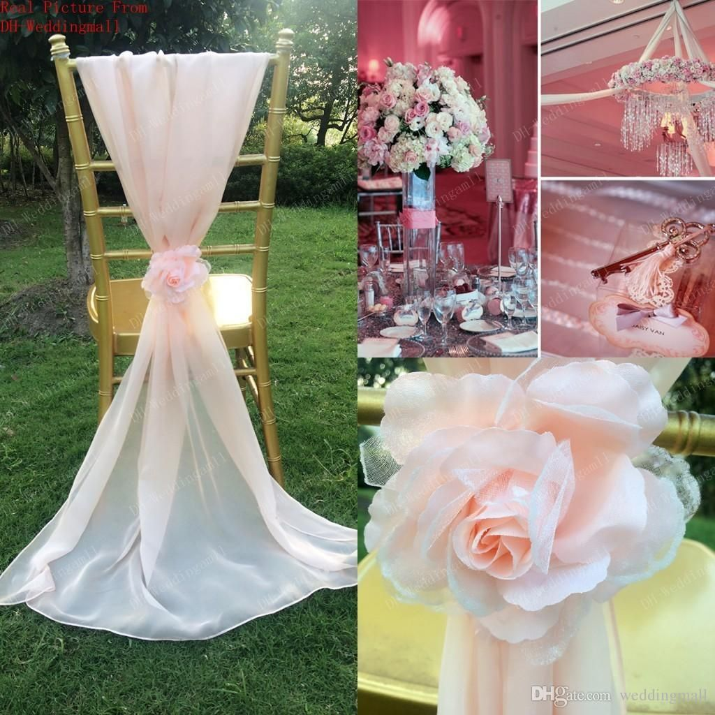 2015 white blush pink chair sashes romantic 3d flowers chiffon