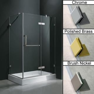 Vigo Frameless Clear Shower Enclosure And Right Base (32 X 48) (Vigo 32 X 48  Frameless 3/8 Clear Shower Enclosure With Right Base Brush Nickel), Grey