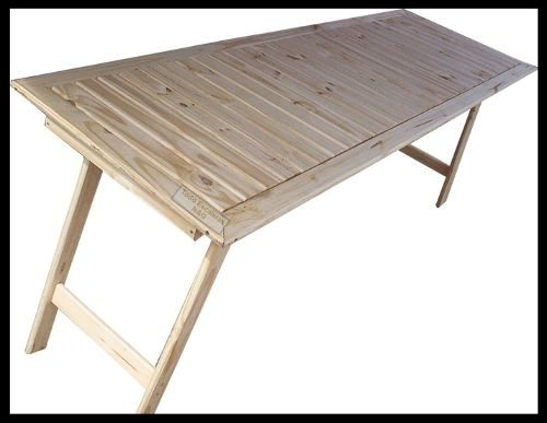 Mesa madera tablon caballetes patas plegables quincho for Mesa plegable quincho