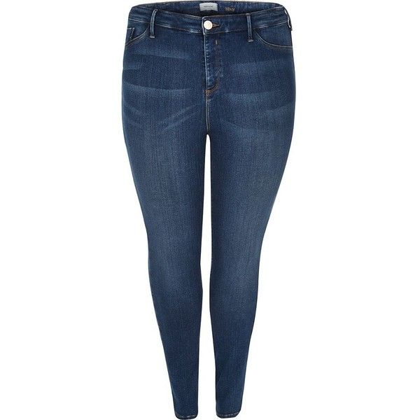 f0a48ec5ec8bc River Island Plus dark blue high rise going out jeggings ( 40) ❤ liked on Polyvore  featuring pants