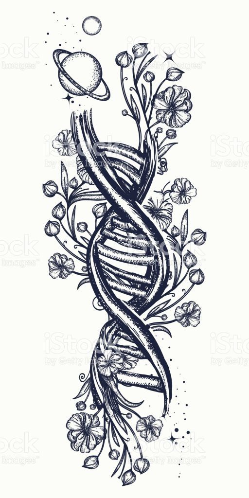 Art Nouveau Flower Tattoo Gis: DNA Chain And Art Nouveau Flowers Tattoo. Symbol Of Art