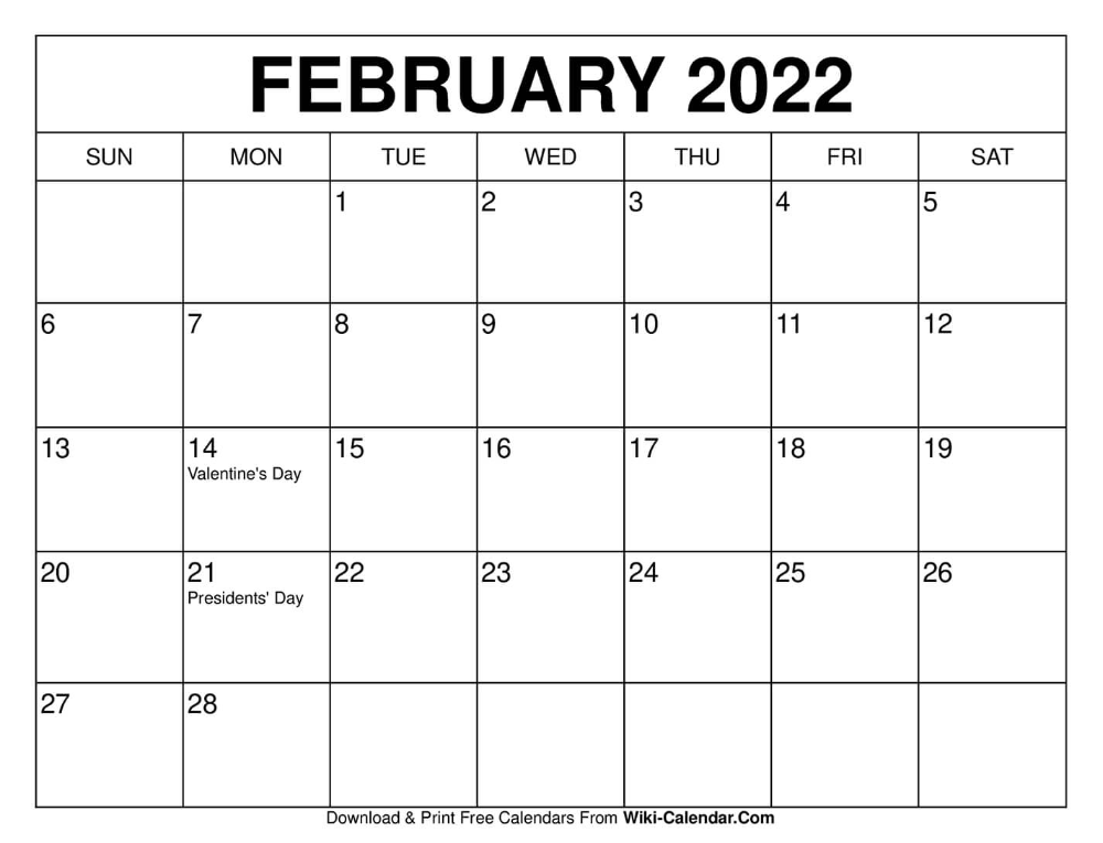 February 2022 Calendar In 2020 Printable Calendar Free Calendars To Print Calendar Printables