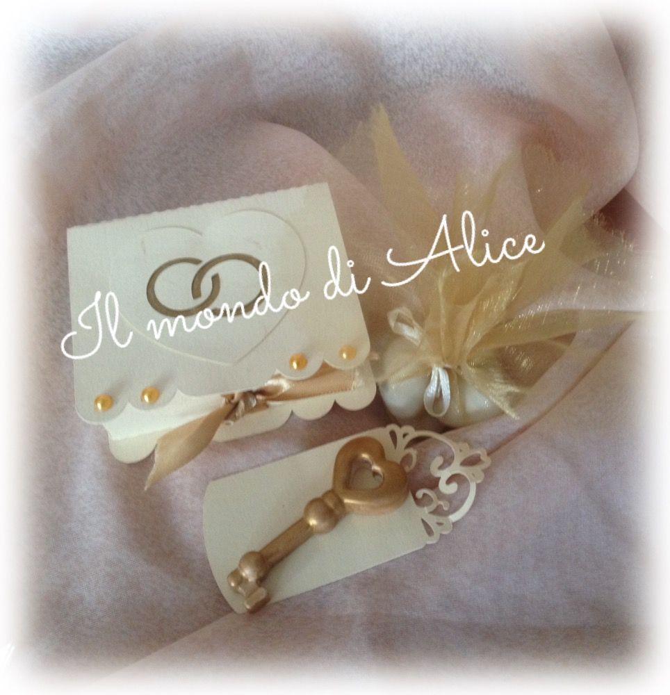scrapbooking gesso ceramico segnaposto porta confetti 50° Anniversario matrimonio nozze d'oro