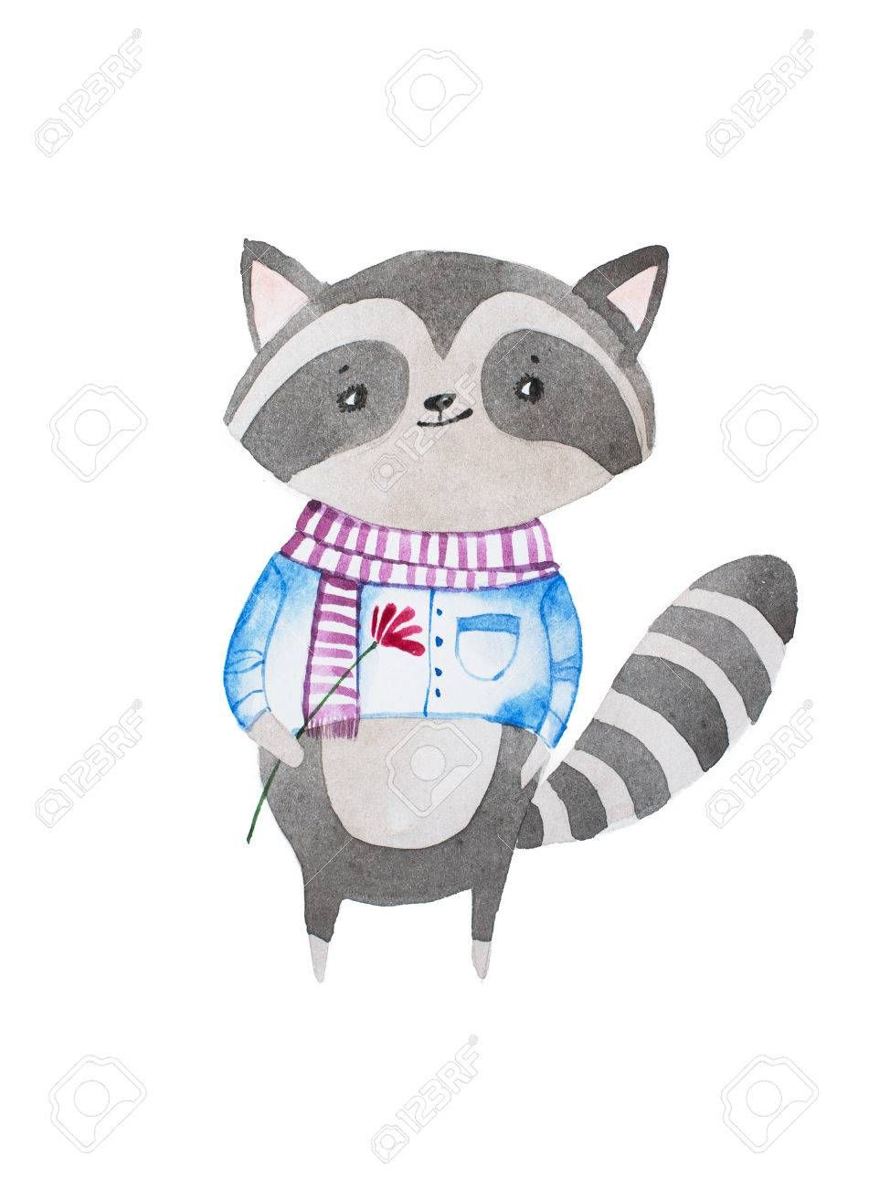 Hand Drawn Cartoon Character Shy Cute Little Baby Raccoon Wearing Scarf And Shirt Holding A Flower Spons Raccoon Illustration Baby Raccoon Cute Little Baby