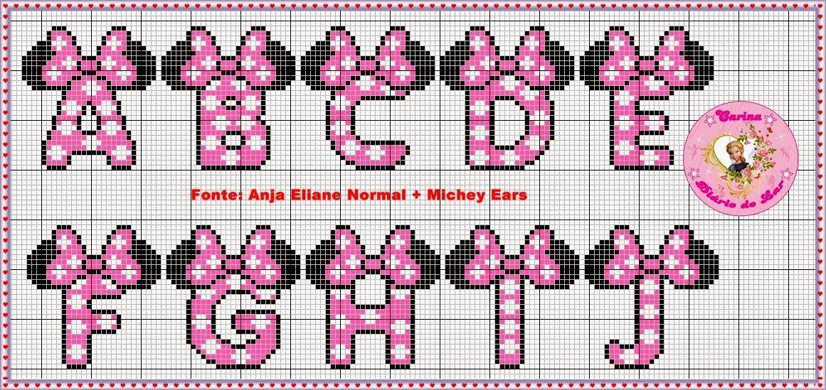 Delicado Cantinho Graficos Ponto Cruz Monogramas Mickey E Minnie