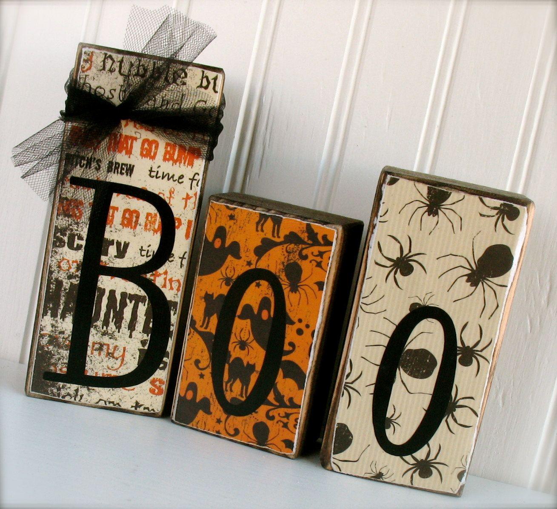 Boo Blocks Halloween - Halloween Wood Blocks Fall Decor | Halloween ...