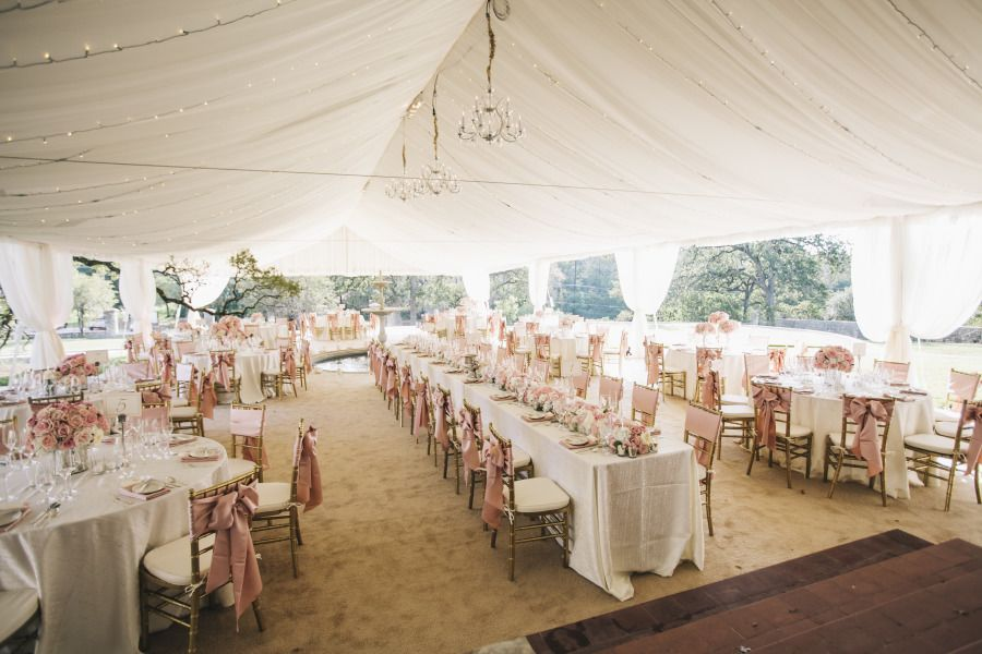 Blush Weddings. Blush Napkins, Tablecloths and Chair Sashes.