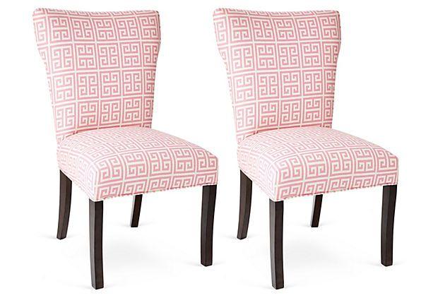 Pink Chloe Chairs, Pair on OneKingsLane.com | Pink chair ...