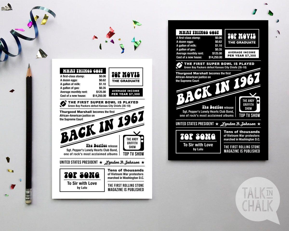BACK IN 1967 Printable 5x7 & 8x10 1967 Digital by TalkInChalk | 50th ...