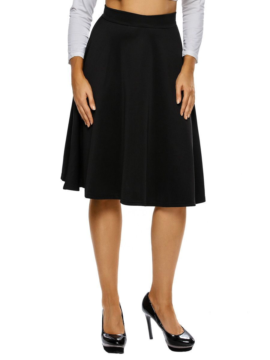 #AdoreWe #JustFashionNow Skirts - Designer dear-lover Charming Flared Black Simple Solid Skirt - AdoreWe.com