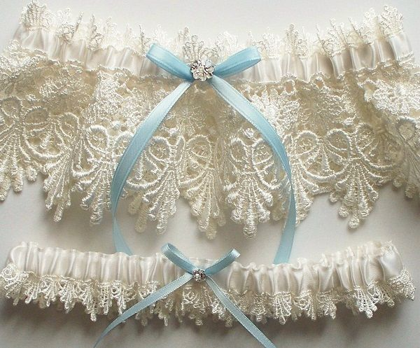 Lace Garter Wedding Set With Blue Satin Ribbon Bow And Swarovski Crystal Centering The ALICIA Visit Image Link More Details