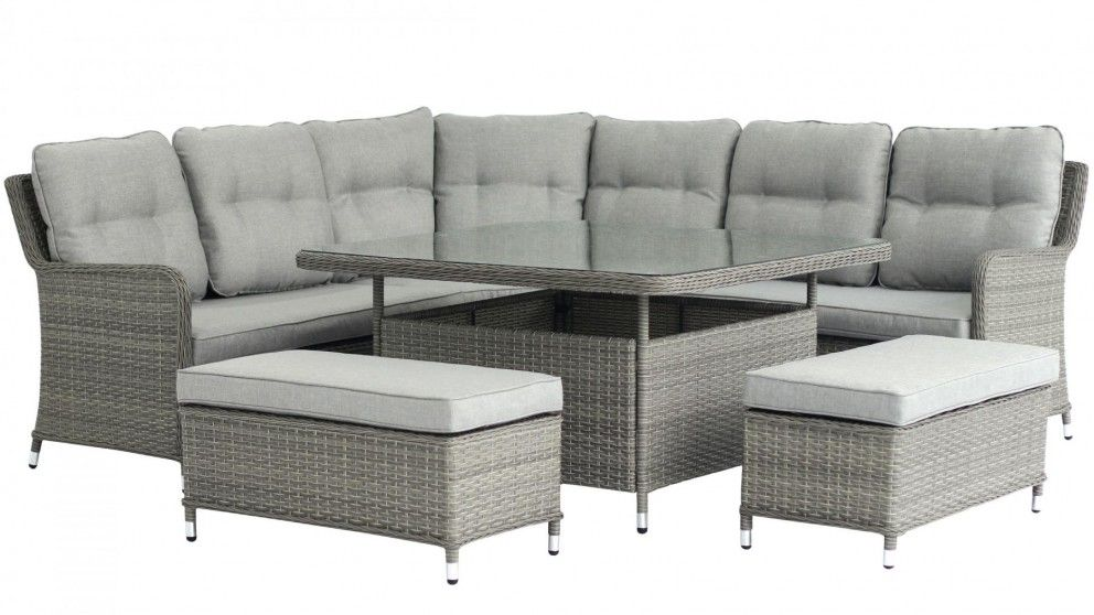 Vegas Outdoor 6 Piece Square Mid Height Lounge Dining