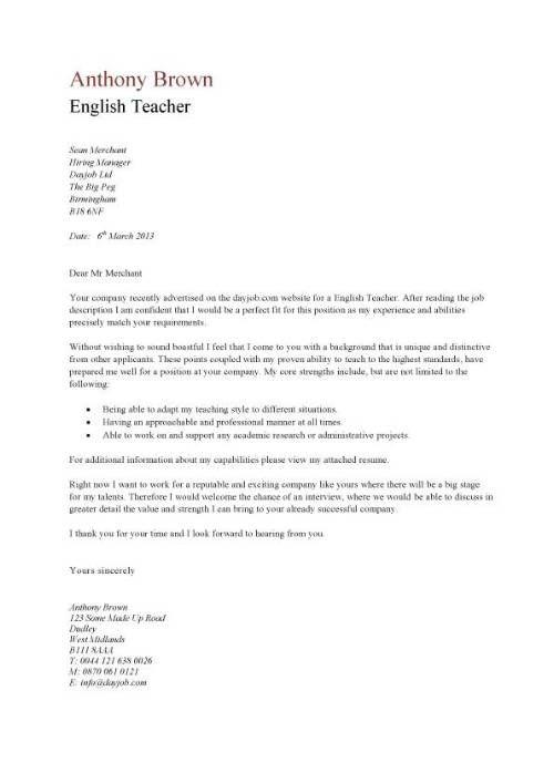 english teacher resume cover letter anschreiben bewerbung englisch ...
