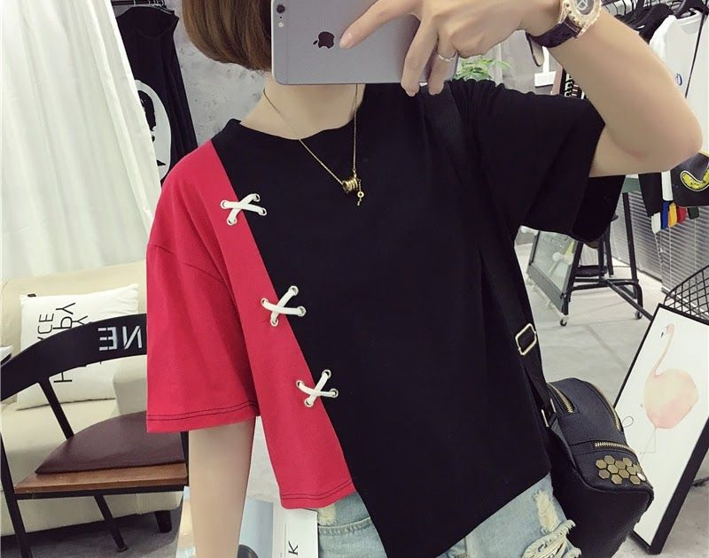 0adc9dfa117ee Buy Online Summer T shirts Cotton Patchwork Color Women T-shirt 2018 Lady  Fashion Shirts Top Casual Top Tees.  shirt  tshirt